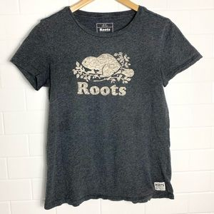 ROOTS Basic Charcoal Signature Logo Tee Shirt
